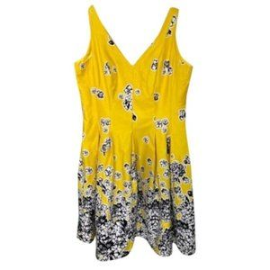 NWT Nine West Yellow Fit and Flare Floral Dress